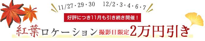 紅葉ロケーション 平日限定、1万円引き!